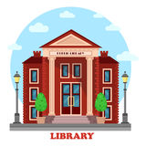 Public lending or academic, national library. Exterior outdoor view. Structure with books and contemporary, periodicals archive for learning and study. For Royalty Free Stock Photography