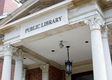 Public Library. The historical building of a public library in St. Ignace, Michigan Stock Image