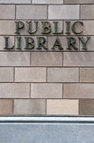 Public library. Exterior of a public library, front wall detail Stock Photos