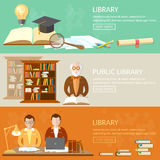 Public library education banners students reading books vector illustration