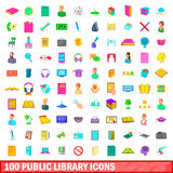 100 public library icons set, cartoon style Stock Photography