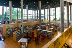 Public library interior. Interior of a huge public library in Birmingham, UK Stock Image