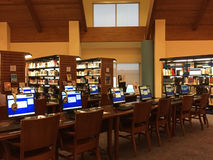 Public library interior. Nice public library in Frisco interior , TX USA royalty free stock image