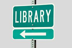 Public Library Road Sign Stock Photos
