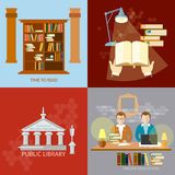 Public Library students reading room set Royalty Free Stock Photo