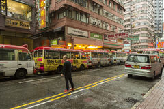 Public light bus service station in Hong Kong. The public light bus or minibus is a public transport service in Hong Kong. It uses minibuses to serve areas that Stock Images