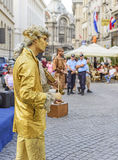 Public live statues in Bucharest Royalty Free Stock Image