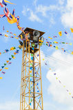 The public loudspeaker decorate with flag. The public loudspeaker in THAILAND decorate with flag of THAILAND and buddhism royalty free stock photos