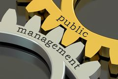 Public Management concept on the gearwheels, 3D rendering Stock Images