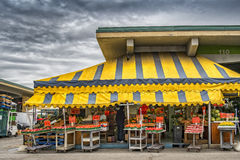 Public Market. Bunch of colorful vegetables,awnings at the local market Stock Photography