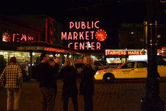 Public Market Center at Night, Seattle, WA, USA Stock Images