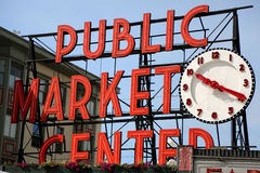 Public Market Center Sign in Seattle Royalty Free Stock Photos