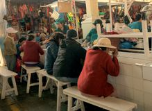 The Public Market, Cusco, Peru/2nd September 2013/Local people e royalty free stock photos