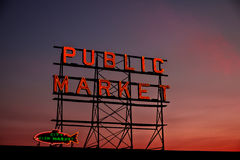 Public Market. Illuminated sign of a famous public market in Seattle Stock Image