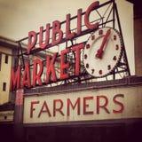 Public Market Pike Place Seattle Retro. Retro vintage filter applied. Seattle Washington iconic landmark sign for Pike Place Market stock photos