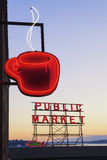 Public Market Sign. Neon coffee cup and public market sign in Seattle, Washington Stock Photo