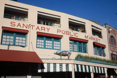 Public market sign, with pig at pike place, seattle royalty free stock images