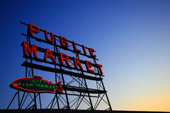 Public Market Signboard. At Seattle Pike Place Market Royalty Free Stock Photos