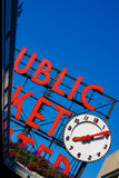 Public Market Signboard. With Clock Stock Photos