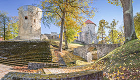 Public medieval park in the center of old Cesis, Latvia Royalty Free Stock Images