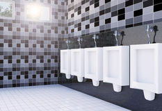 Public men's toilet room interior with white urinals row on tiles wall and floor Stock Photos
