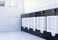 Public men's toilet room interior with white urinals row on white tiles wall and floor Stock Images