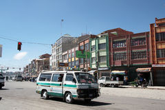 Public minibus transport in El Alto, La Paz, Bolivia Royalty Free Stock Images