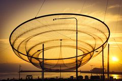 Public network sculpture in roundabout stock photography
