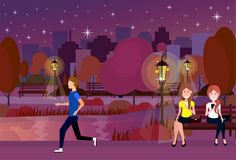 Public night urban park people outdoors running sitting wooden bench street lamp on city buildings template background. Flat vector illustration vector illustration