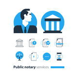 Public notary services icons set, law firm man advocacy consult document certify. Flat design vector illustration. Public notary concept royalty free illustration
