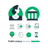 Public notary services icons set, law firm man advocacy consult document certify. Law services and public notary concept icon set, woman. Flat design vector royalty free illustration