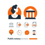 Public notary services icons set, law firm man advocacy consult document certify. Law services and public notary concept icon set, woman. Flat design vector stock illustration