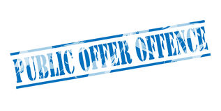 Public offer offence blue stamp Stock Photos
