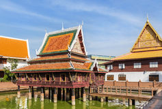Public old wooden temple architecture traditional thai style Royalty Free Stock Images