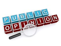 Public opinion. Blue and red kids blocks spelling public opinion under magnifying glass on white background Royalty Free Stock Photos