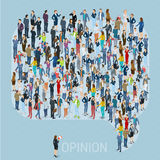 Public opinion vector template. Public opinion 3d isometric people social networking mock up. People crowd comment speech bubble frame shape icon. Isometric Stock Photo