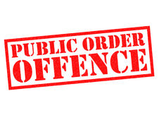 PUBLIC ORDER OFFENCE. Red Rubber Stamp over a white background Stock Photo