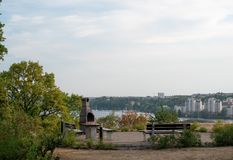 Outdoor barbecue area in Solna, Stockholm Sweden. Public outdoor barbecue spot at Johan Enbergs väg royalty free stock photos