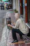Public painter on Montmartre hill in Paris. Circa in Paris, France. Many artists worked around the community of Montmartre such as Pablo Picasso or Vincent van Royalty Free Stock Image