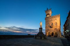 Public Palace and Statue of Liberty in San Marino. Italy Royalty Free Stock Image