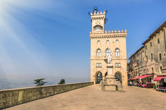 Public Palace and Statue of Liberty in San Marino Republic Royalty Free Stock Photos
