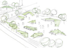 Public Park Architectural Sketch Royalty Free Stock Images