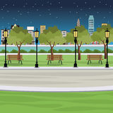 public park bench post light river city view night stock illustration