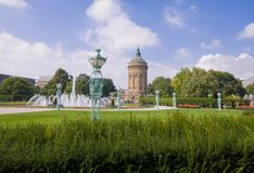 Public Park called Friedrichsplatz Near Mannheim Water Tower Stock Image