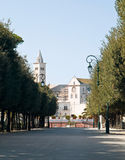 Public park with Cathedral. Trani. Apulia. Royalty Free Stock Photos