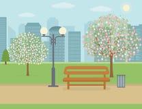 Public park in the city. Spring landscape background. Public park in the city. Vector illustration Stock Image