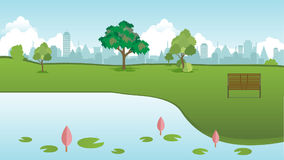 Public park in city with wood bench and lotus lake front vector Stock Photography
