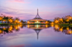 Public park colorful sunset beautiful Royalty Free Stock Images
