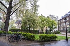 Public park in Dusseldorf, Germany. Public park with bicycle parking in Dusseldorf, Germany stock photos