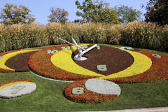 Public park in Geneva with flower clock Royalty Free Stock Photos